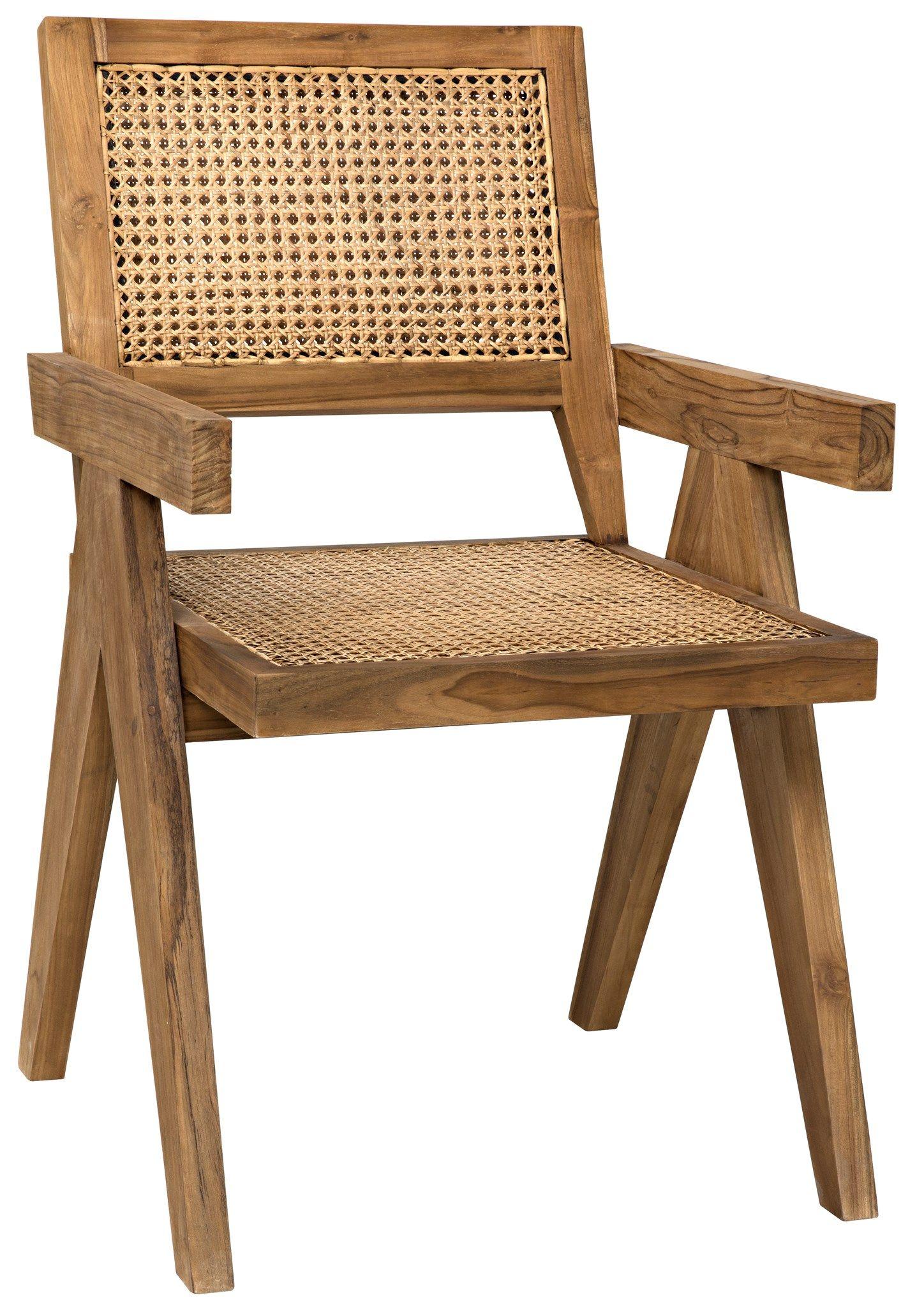 Jake Teak and Cane Arm Chair Mid-Century Modern Style Teak Frame ...