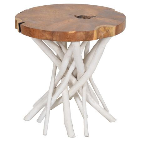 Side Table Crafted From Solid Teak Wood Branches. Each Design Is Unique.  Product: