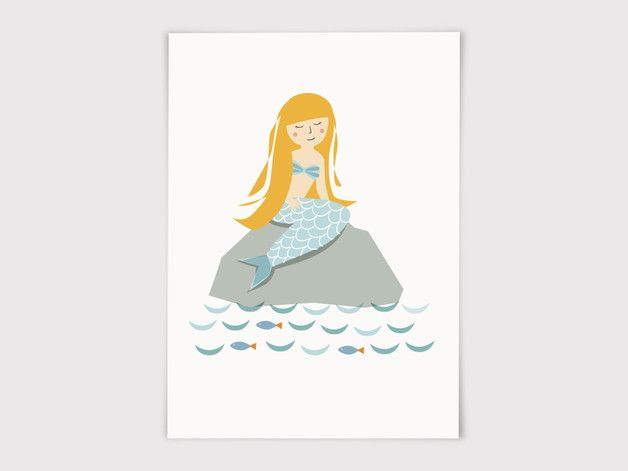 Postkarte Meerjungfrau With Images Mermaid Cardboard