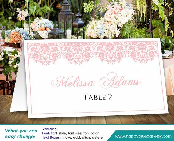 DiY Printable Wedding Place Card Template Instant by ...