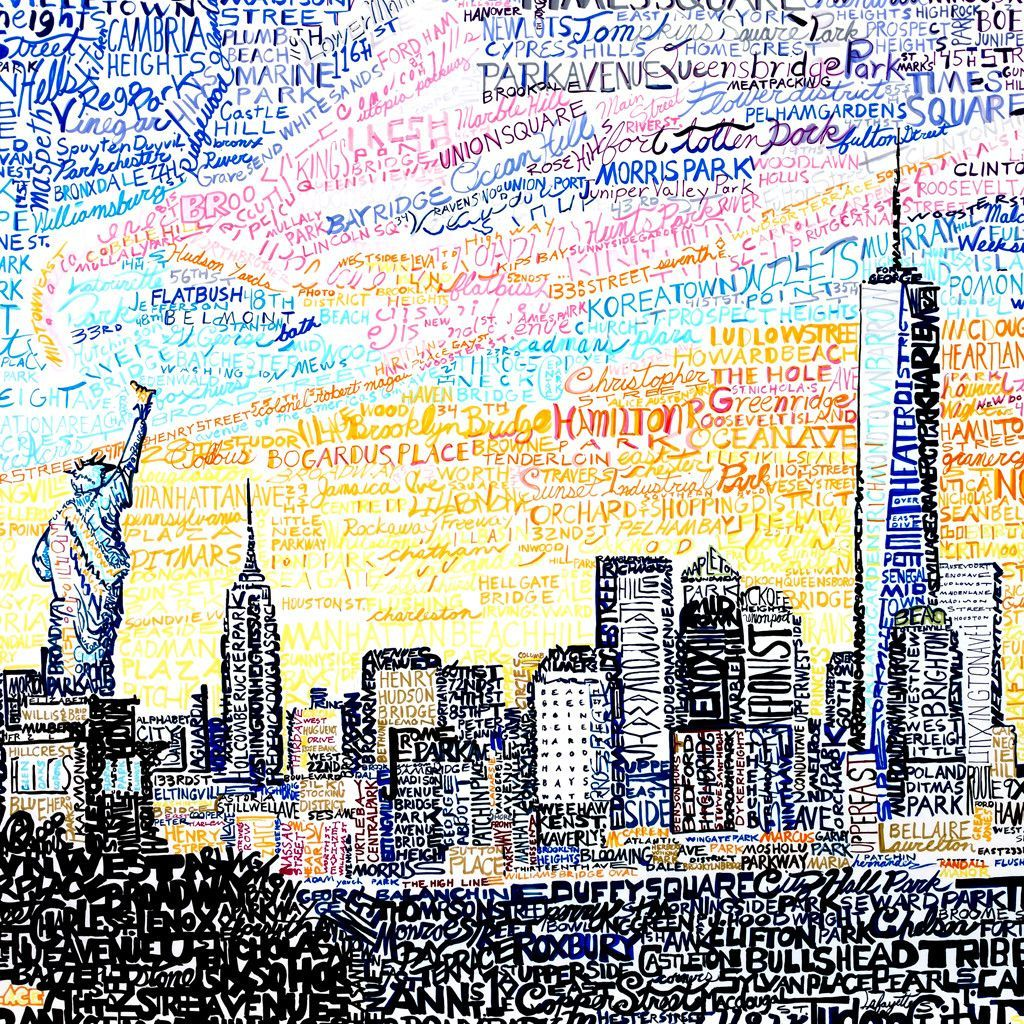 New York City Skyline | City | Art, City art, New york city map