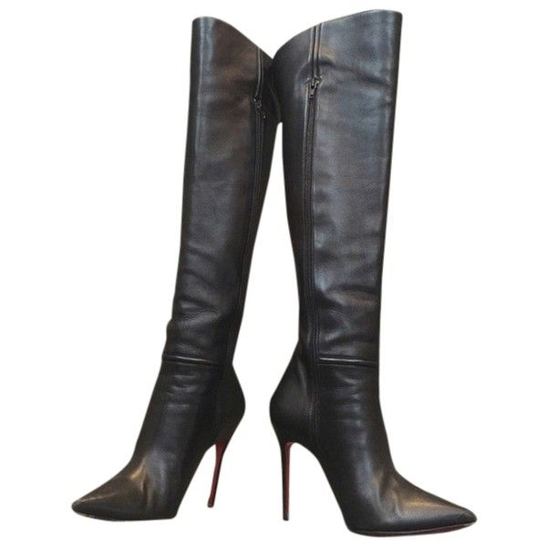 d1cc423225e2 Pre-owned Christian Louboutin Armurabotta Over The Knee Black Boots ( 915)  ❤ liked