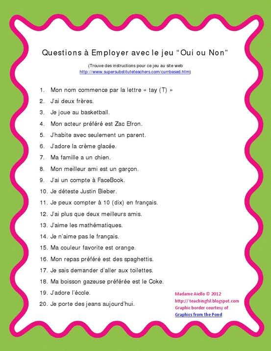 French questions for yes/no game | Supply Life Melbourne Style ...