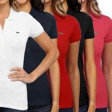 Women's Lacoste Stretch Polo Short Sleeve Slim Fit Pique Shirt