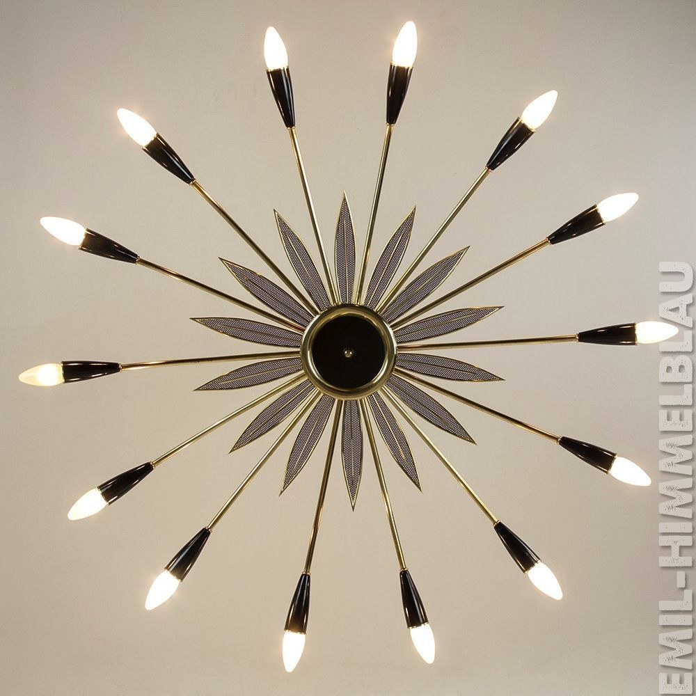 XXL SPUTNIK PENDENT STILNOVO LAMPE CHANDELIER SPINNE LAMP 14 ARMIG 50er 50s