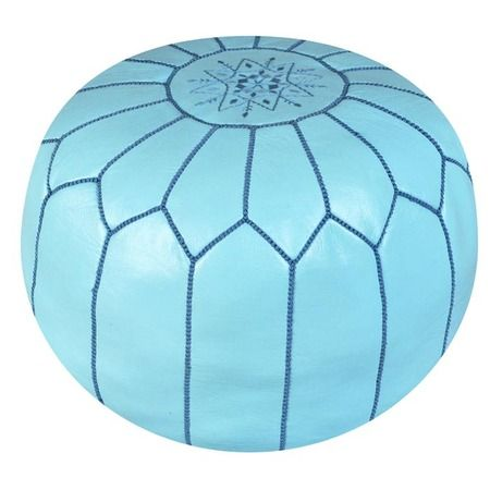 Morocco Pouf in Sky Blue   goat-skin leather from the Bohemian Boudoir  at Joss and Main