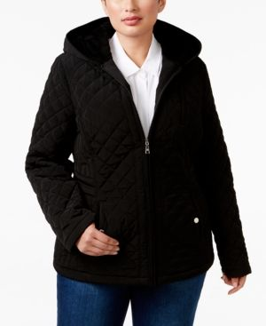 7ad0c6f9e4d26 Laundry by Design Plus Size Faux-Fur-Lined Hooded Quilted Jacket - Black 0X