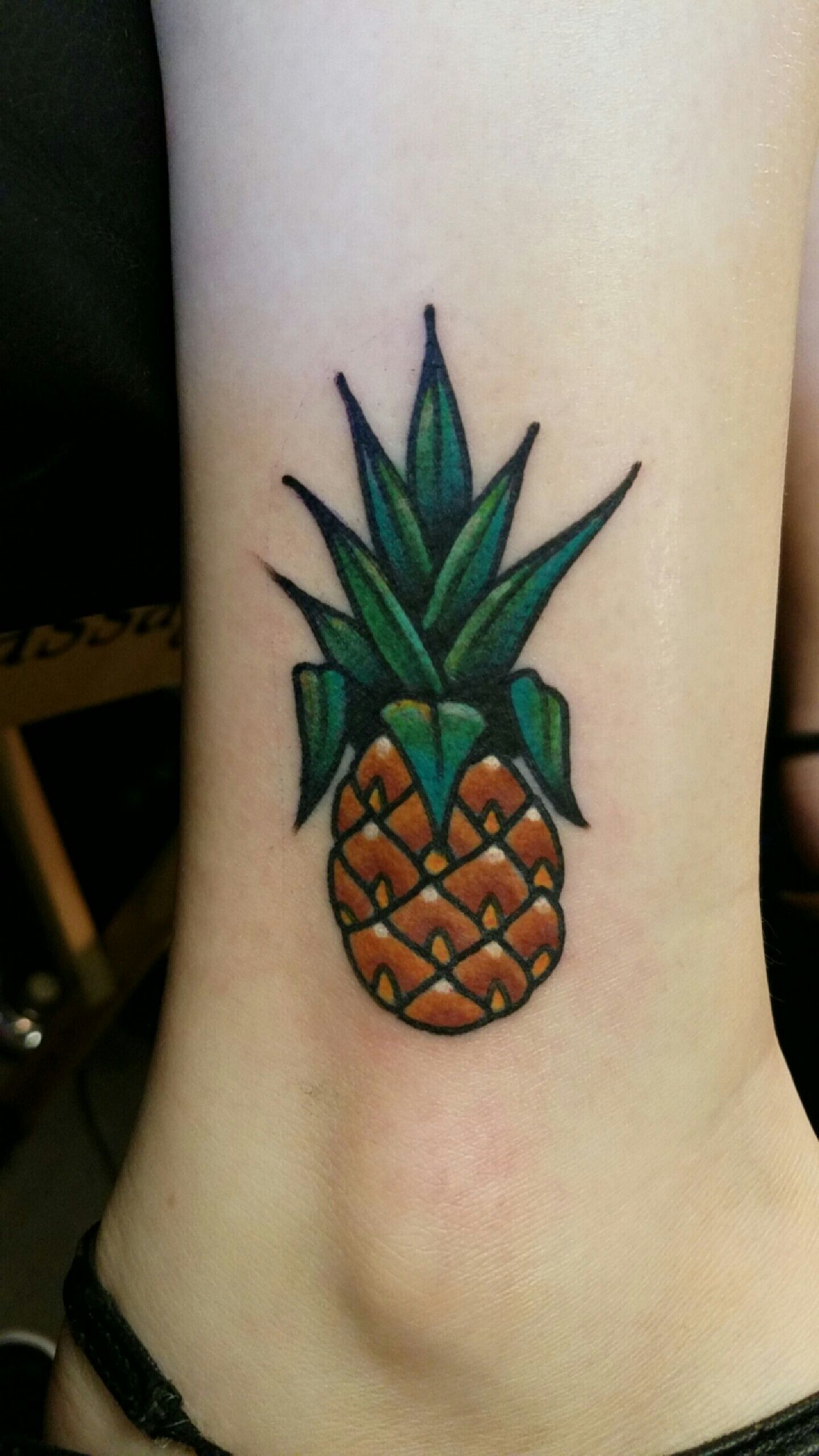 Pineapple By Tyler Nealeigh At Black Lotus Tattoo In Gilbert Arizona Pineapple Tattoo Black Lotus Tattoo Lotus Tattoo