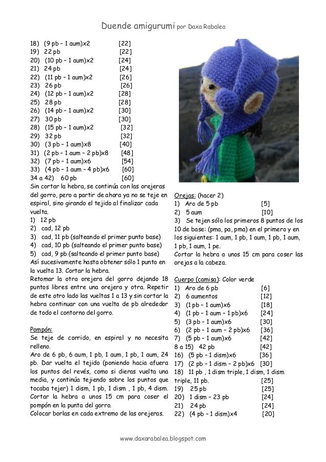 patrón Duende amigurumi | crochet | Pinterest | Duendes, Patrones y ...