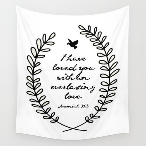 Everlasting Love Biblical Quote Jeremiah Verse Wall Tapestry