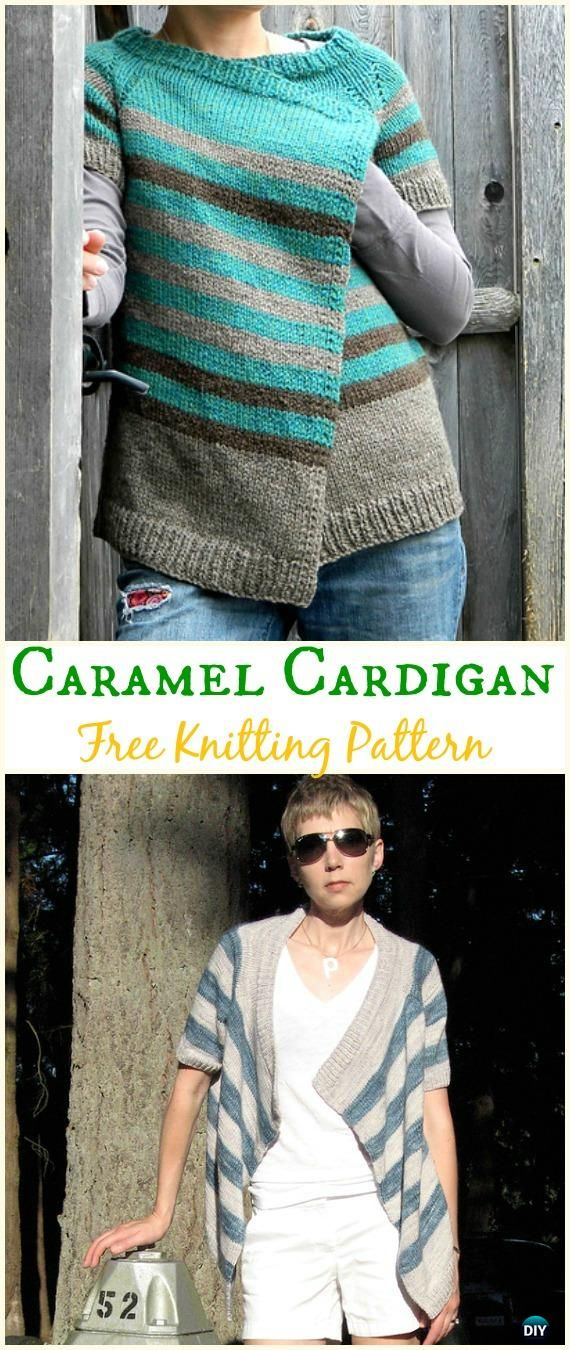 Womens Caramel Cardigan Sweater Free Knitting Pattern Knit Women