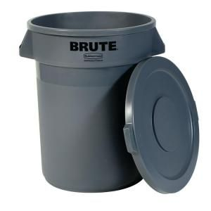 Rubbermaid Commercial Products Brute 20 Gal Grey Round Trash Can With Lid Fg8620 20gra At The Home Rubbermaid Commercial Products Trash Can Kitchen Trash Cans