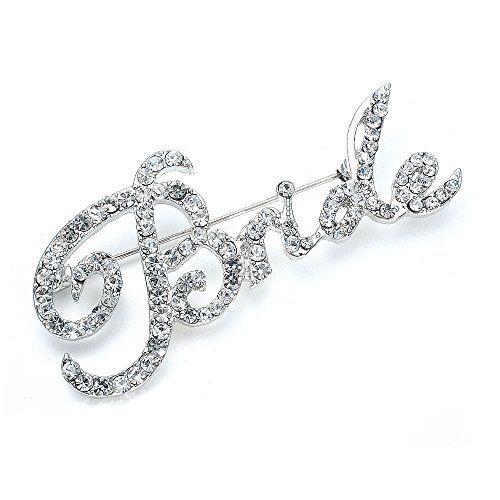Mariell Crystal Rhinestone Bride Brooch Pin In Script Lettering – Bachelorette Bridal Shower Gift