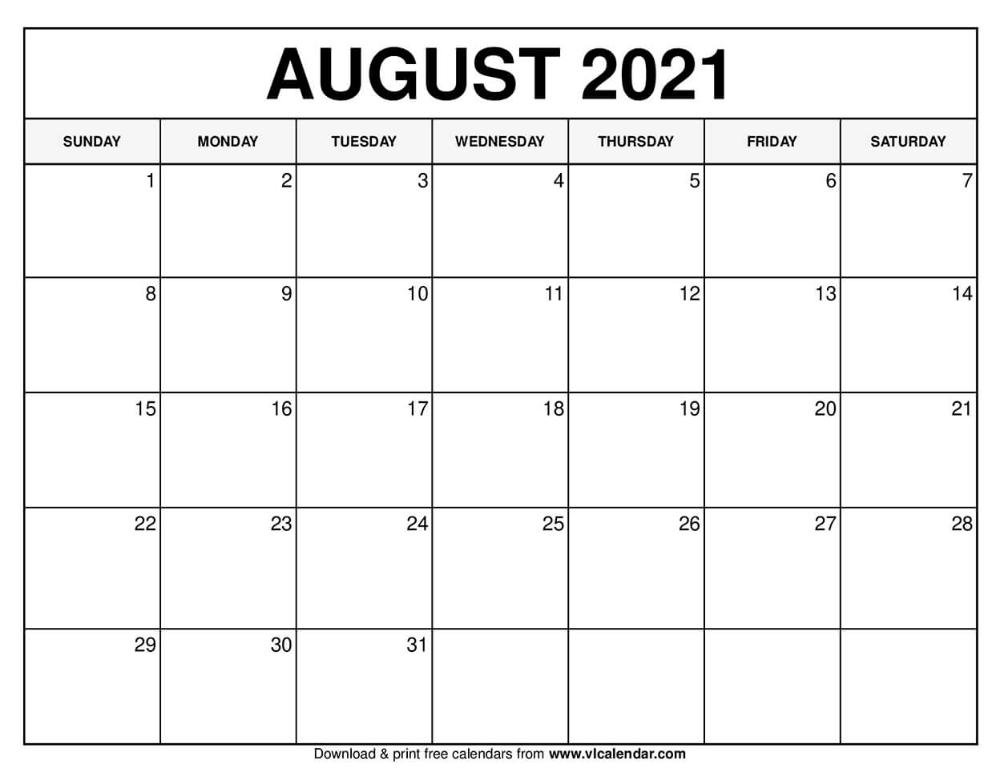 August 2021 Calendar In 2020 Calendar Free Calendars To Print August Calendar