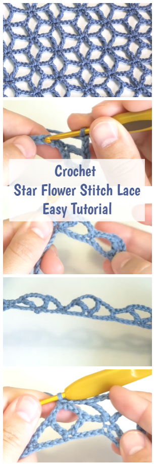Crochet Lace Star Flower Crochet Stitch in English - Easy Tutorial For Beginners #crochetstitches