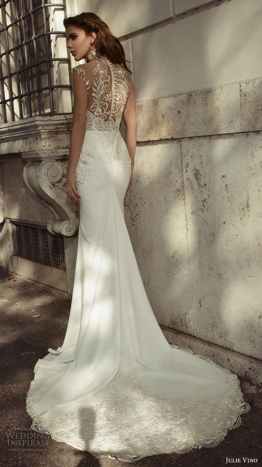 julie vino bridal spring 2017 sleeveless sweetheart illusion high neck sheath wedding dress (octavia) bv sheer back train