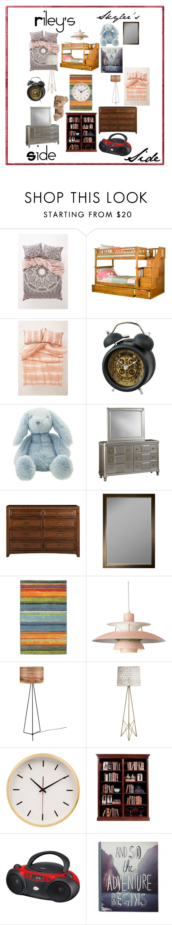"""""""Skylar's and Riley's Bedroom - Twin love"""" by twilightphonix on Polyvore featuring interior, interiors, interior design, home, home decor, interior decorating, Magical Thinking, Urban Outfitters and bedroom"""