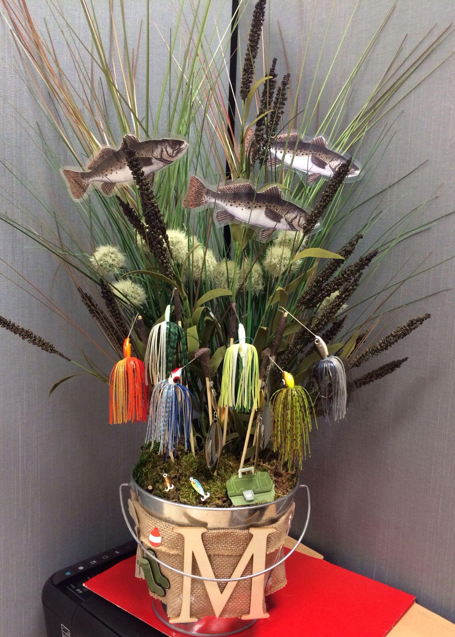 Fisherman gift basket i made using real fishing lures