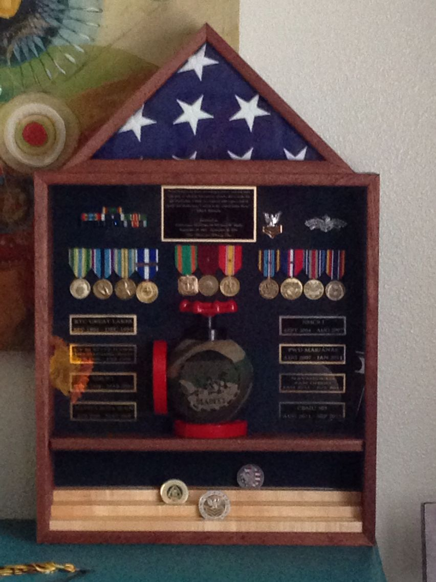 Shadow Box Retiring Navy Seabee. Mahogany With Oil