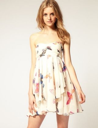 Dress this swishy little sundress down with a cropped denim jacket for a weekend look you'll wear all fall.    CHIFFON BANDEAU DRESS, $60.34, US.ASOS.COM