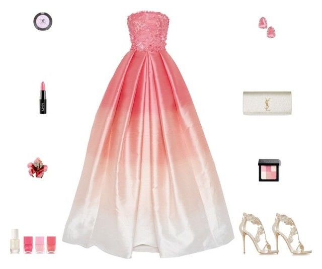 """""""Contest: Metallic White & Pink Ombre Prom Outfit"""" by billsacred ❤ liked on Polyvore featuring Yves Saint Laurent, Oscar de la Renta, Naeem Khan, Kendra Scott, Topshop, rms beauty, Bobbi Brown Cosmetics and Nails Inc."""