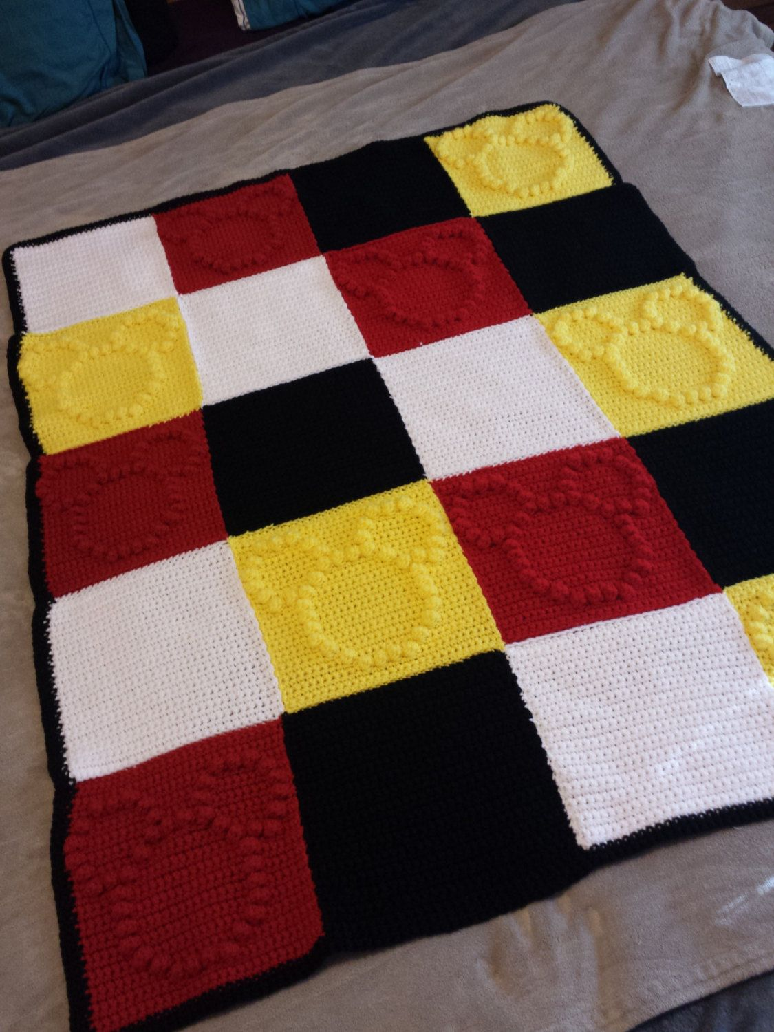 Mickey Mouse Themed Crochet Bobble Blanket by WISHBONEandFATE ...