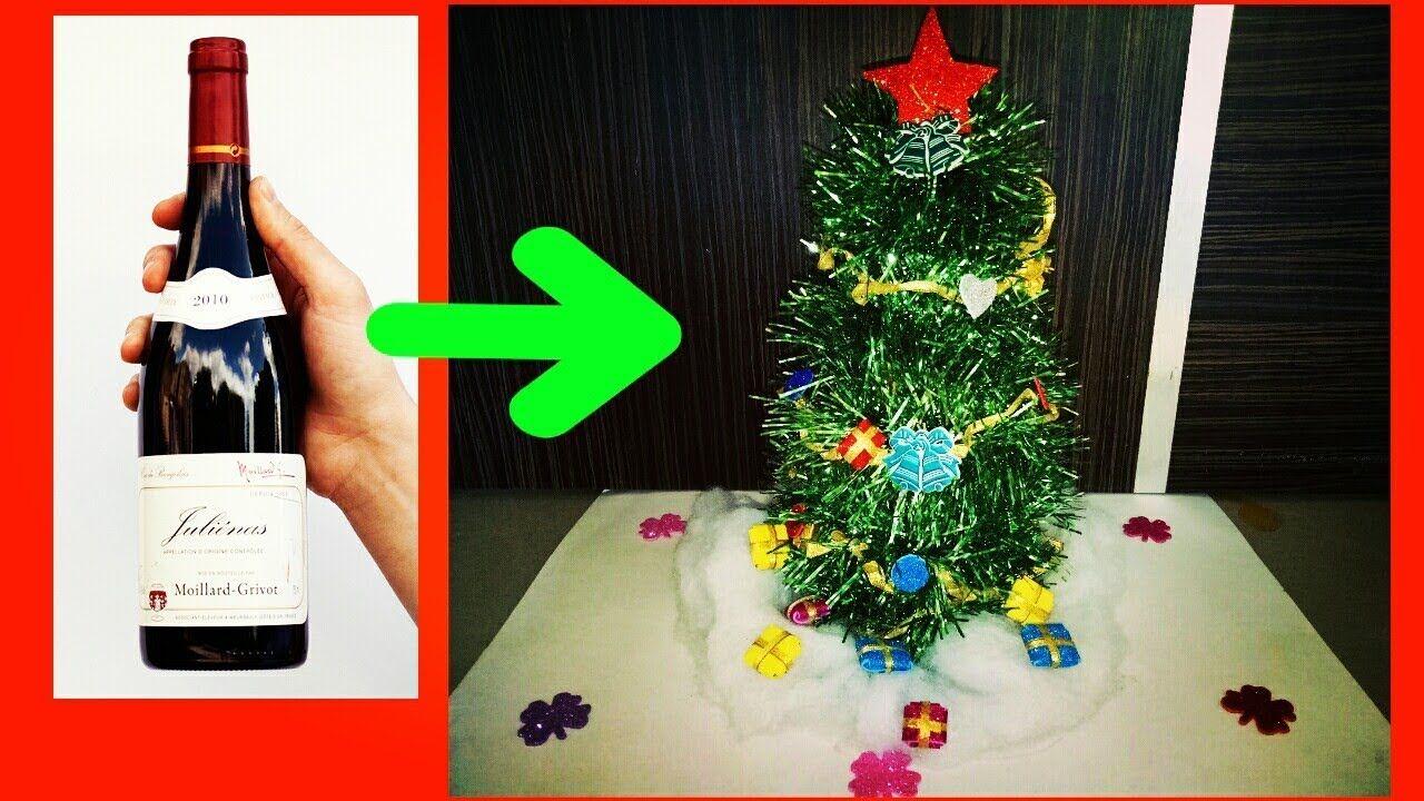 How To Make Christmas Tree Wine Bottle Christmas Tree Christmas Decoration Ideas Youtube How To Make Christmas Tree Christmas Wine Bottles Christmas Tree