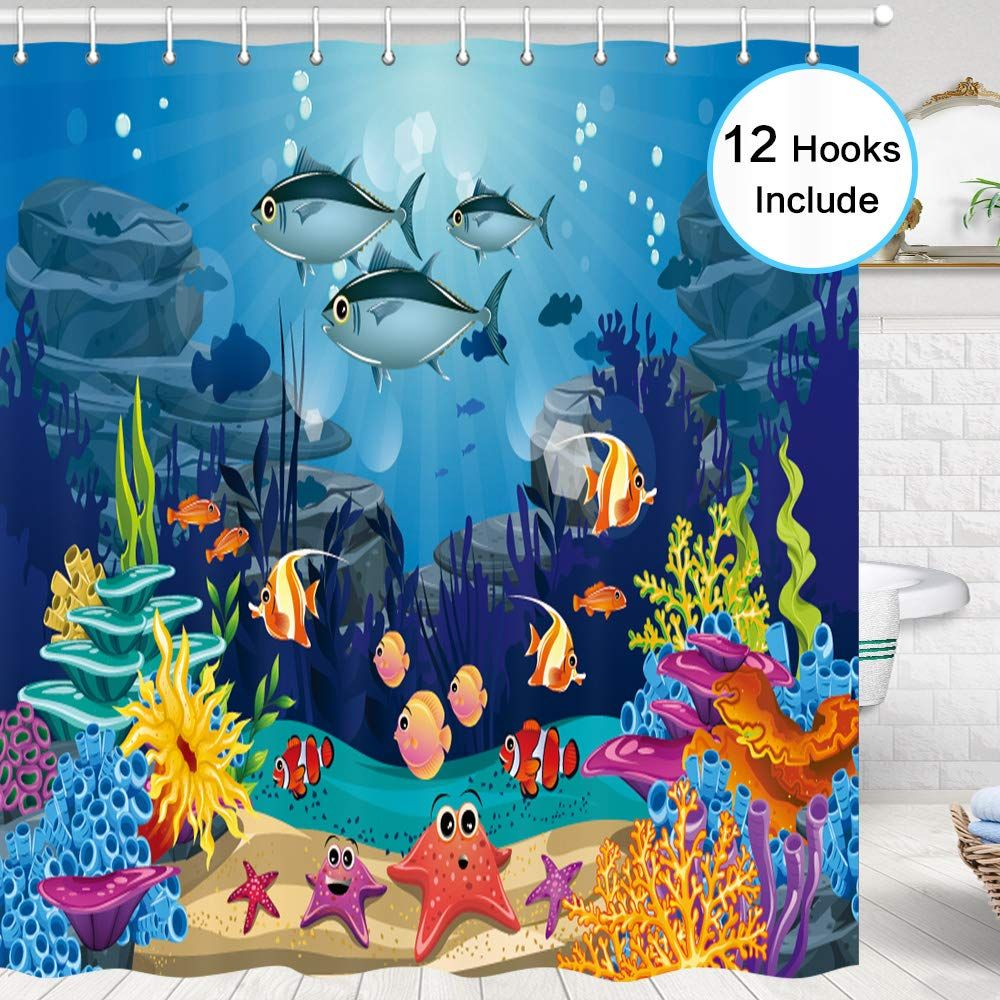 Blue Ocean Tropical Fish Coral Undersea World Shower Curtain For