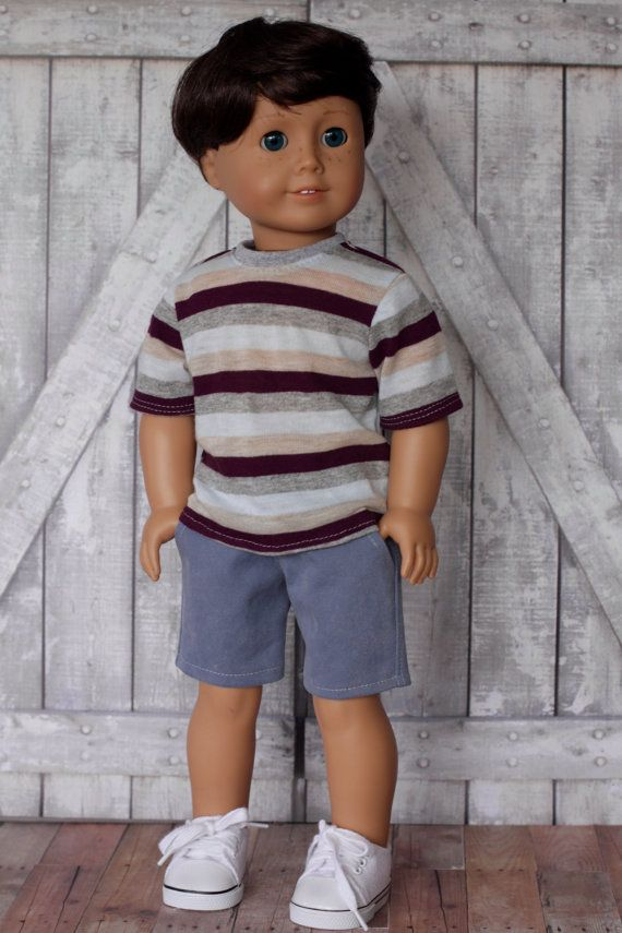American Boy Doll Clothes - Gray Brown Striped BOY Short Sleeve T ...