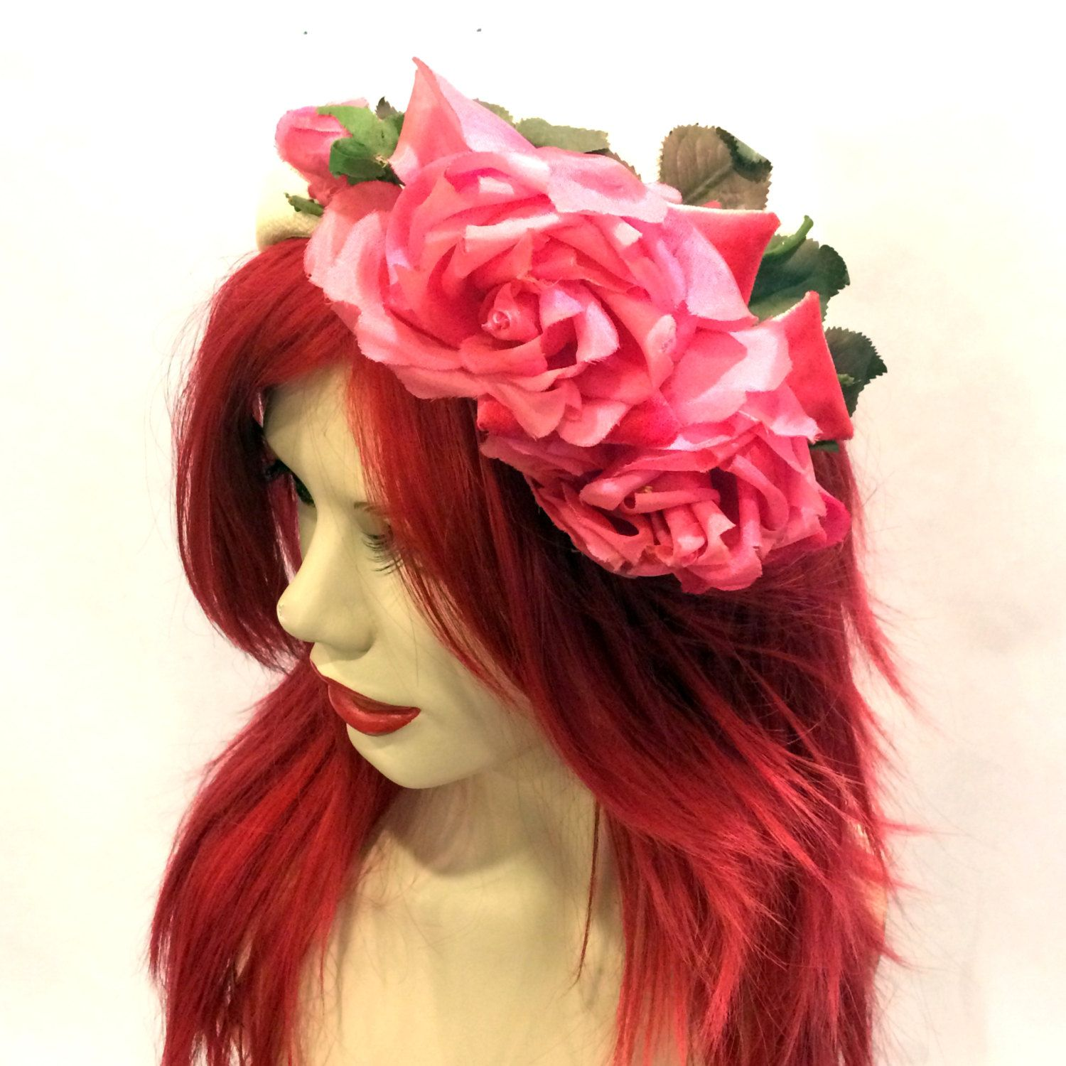 Vintage 1950's Natural Straw Curved Half Hat With Bright Pink Silk & Velvet Roses, Fascinator Hat, Mini Hat, Pinup Retro, Spring Fashion Hat by VintageDoylestown on Etsy