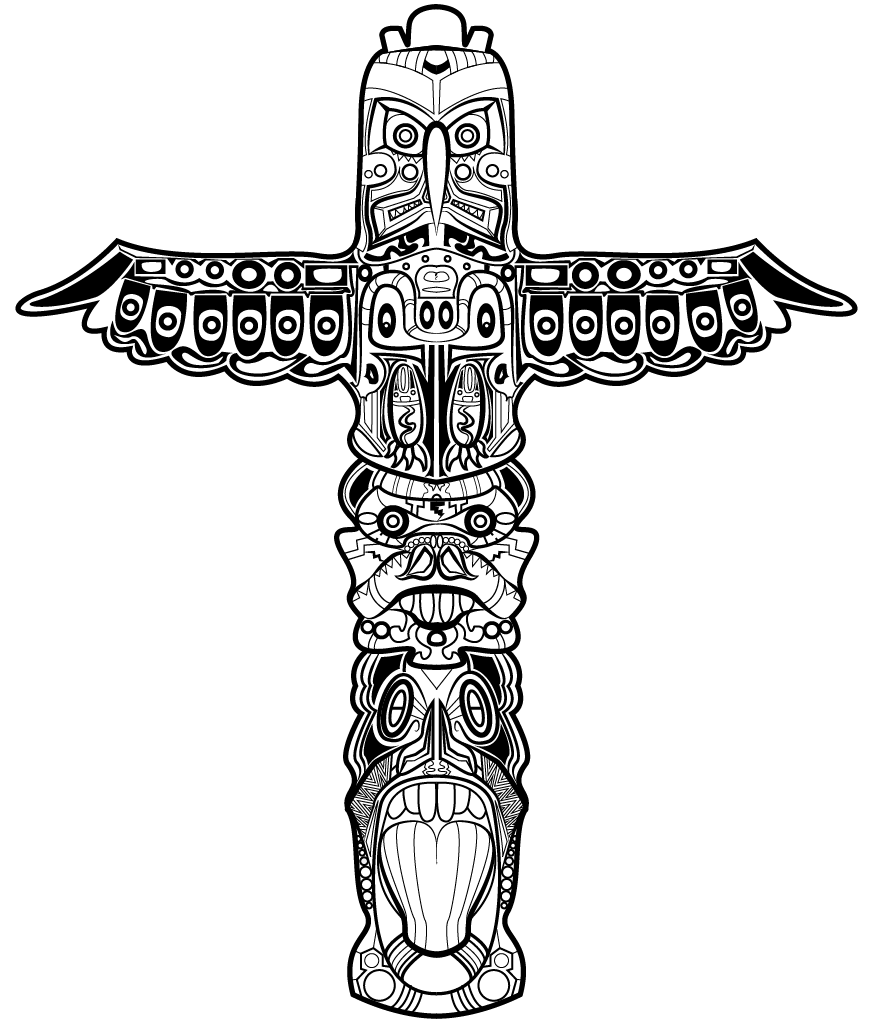 Tom huxley totem pole design drawing pinterest for Totem pole design template