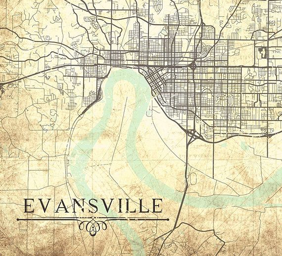 EVANSVILLE IN Canvas Print Indiana IN Vintage map Vintage Wall Art ...