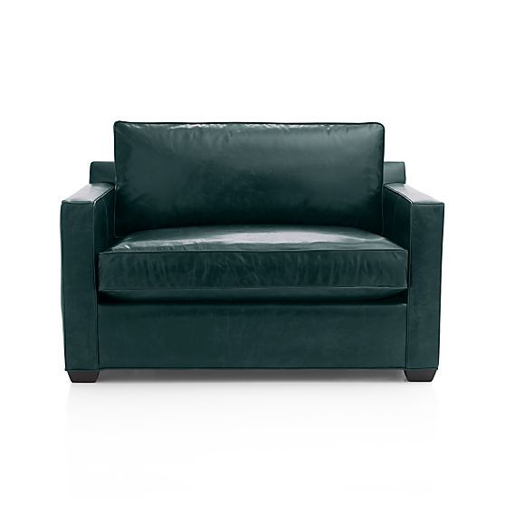 Davis Leather Twin Sleeper Sofa With Air Mattress   Teal | Crate And Barrel
