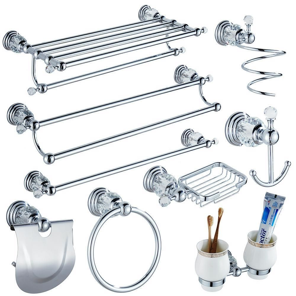 Crystal Silver Bathroom Kit Accessories Item 2 Paper Holder And Glass Shelf Item Crystal Bathroom Accessories Silver Bathroom Accessories Crystal Bathroom