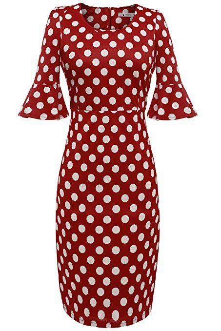 ANGVNS Polka Dots Kleid 50er Jahre Rockabilly Kleid Vintage ...