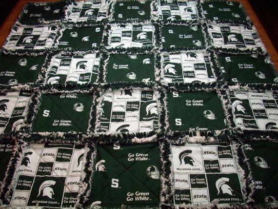 Msu Baby Rag Quilt Handmade Michigan State Quilt By