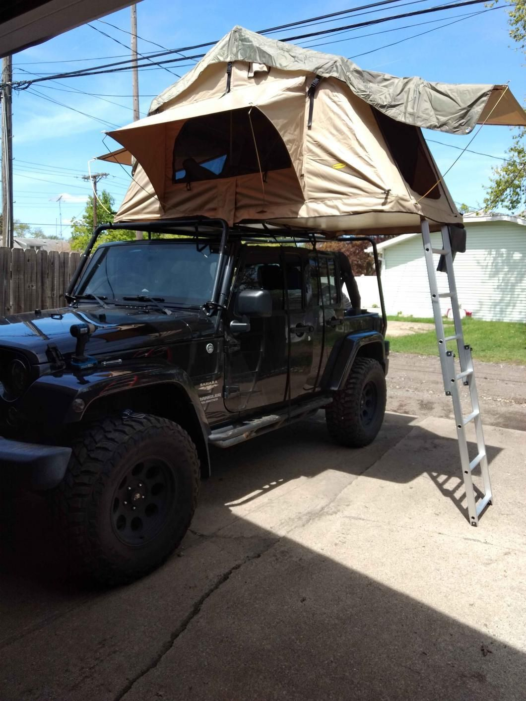 Smittybilt Jeep Wrangler Overlander Roof Top Tent Coyote Tan 2783 Universal Fitment Roof Top Tent Roof Tent Jeep