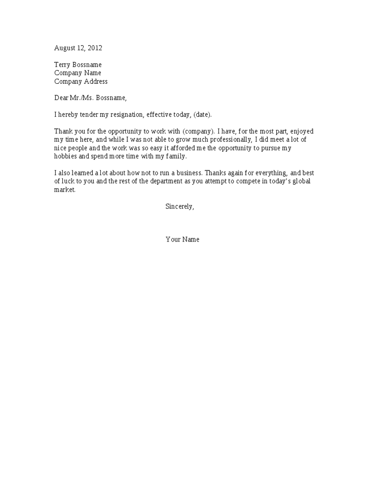 Passive Aggressive Resignation Letter. Because we all can dream ...