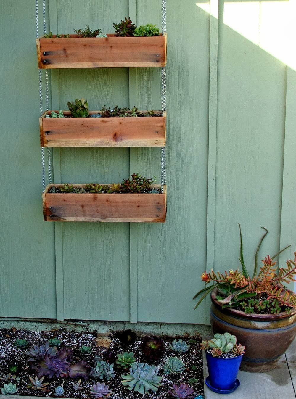 Diy Tiered Hanging Planter Bo Wood Box Wooden