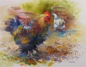 Paint chicken in the farmyard in watercolour with Wendy Jelbert