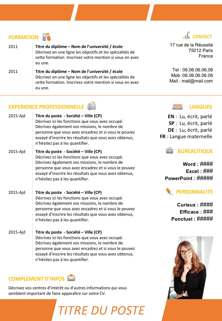 Exemple de CV Enseignant Professeur gratuit à télécharger