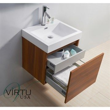 "Configuration. Virtu USA 24"" Zuri Single Sink Bathroom Vanity with Polymarble Countertop - Plum 