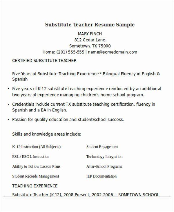 25 resume for substitute teachers in 2020