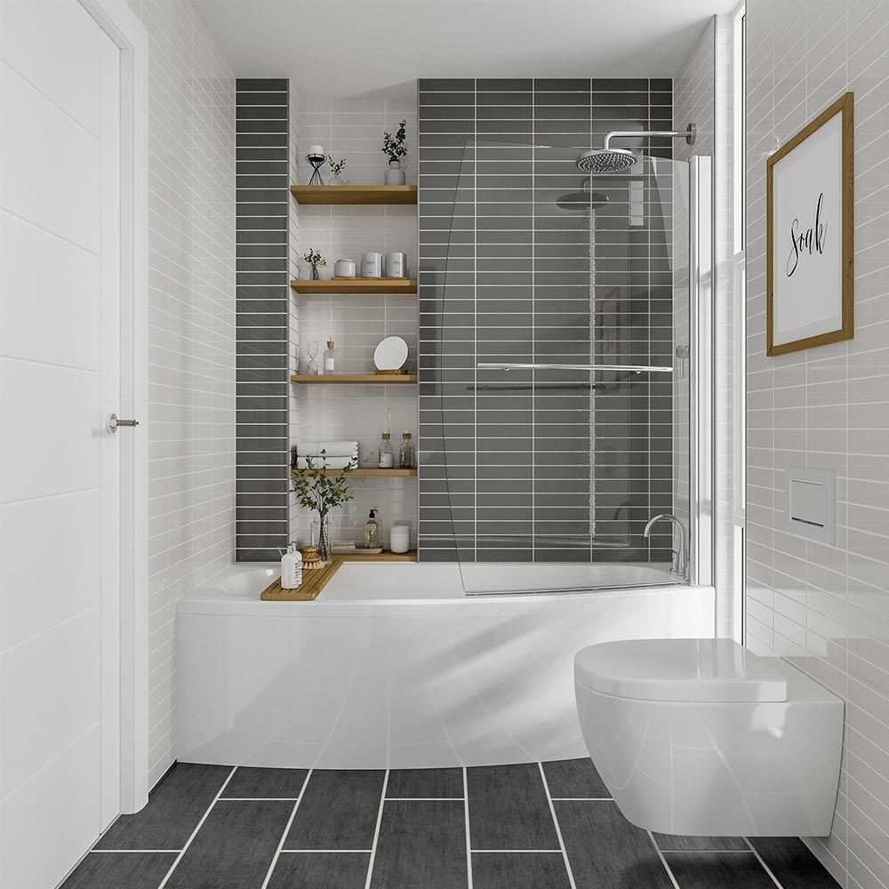 Sienna Space Saver Shower Bath With Front Panel Screen 1695mm X 695mm Bathroom Interior Small Bathroom Remodel Shower Over Bath