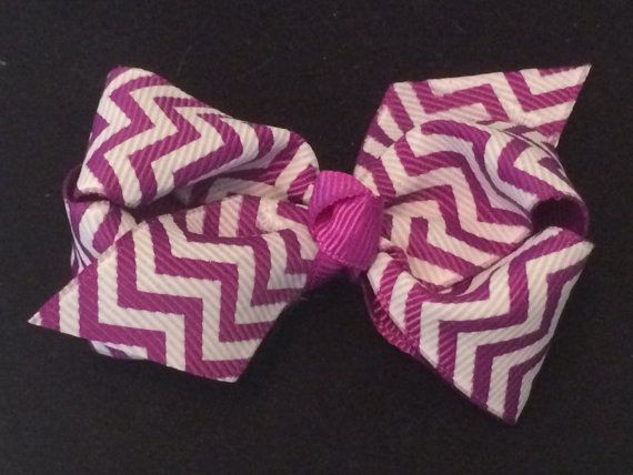 3 Inch Purple and White Chevron Bow by KTEdesigns on Etsy