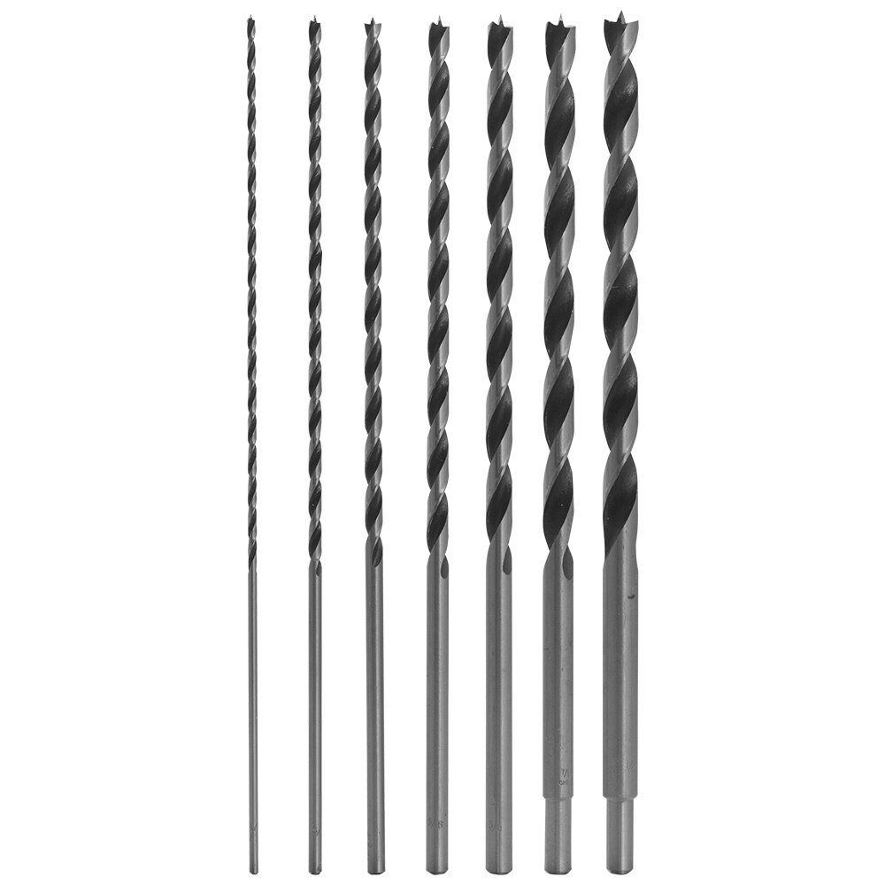 12 Long Brad Point Bit Set 7 Drill Bit Set Perfect For Drilling Wood Plastic Drywall And Composite Materials Continue In 2020 Drill Bit Sets Drill Bits Drill