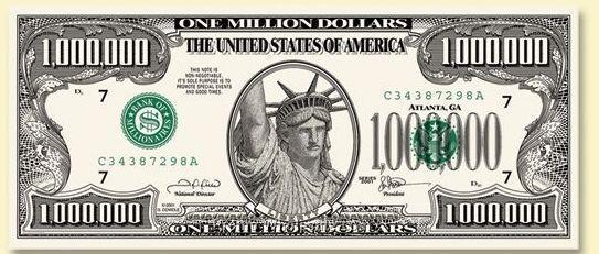 Standard Front Back Million Dollar Play Money 20090766386 Jpg