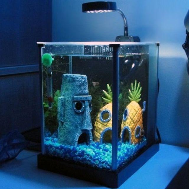 Spongebob Squarepants Aquarium I Admit I Love The Show This Would Be Adorable Especially For In A Kids Roo Spongebob Fish Tank Aquarium Ornaments Aquarium