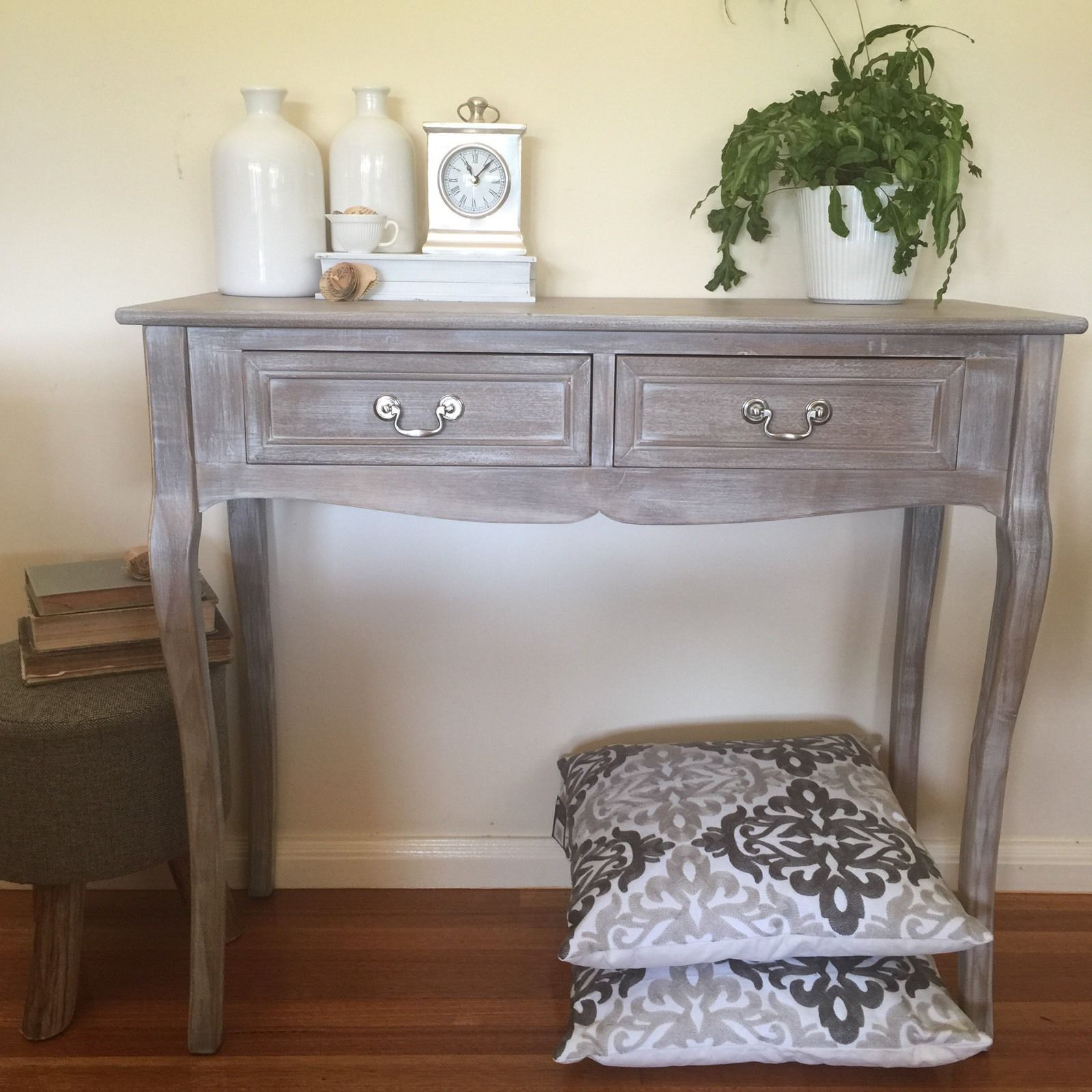 Elegant 2 Drawer Whitewash Console Hall Table Desk Stand French Provincial  | EBay