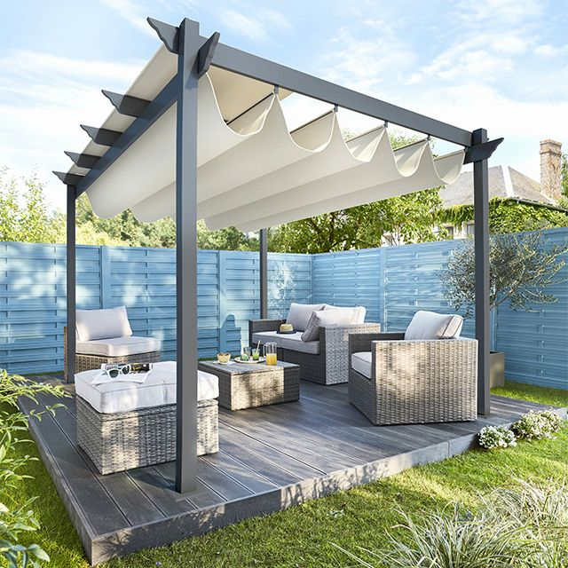 pergola pas cher avec mr bricolage pergola l gant toile d. Black Bedroom Furniture Sets. Home Design Ideas